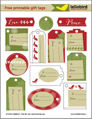 Free Christmas gift tags printable from Lellobird