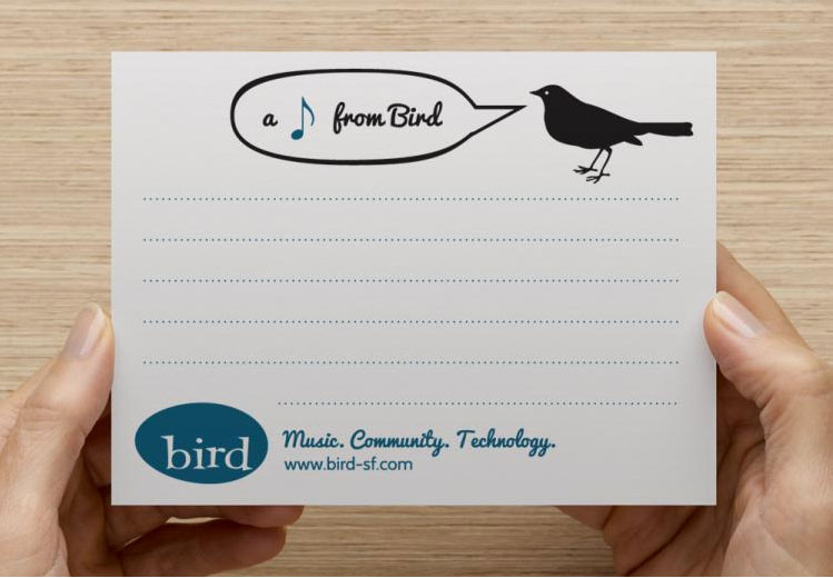 Notecard for Bird School of Music, by Lellobird