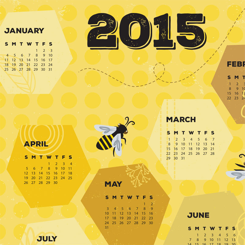 Detail of Bee Towel calendar by Lellobird