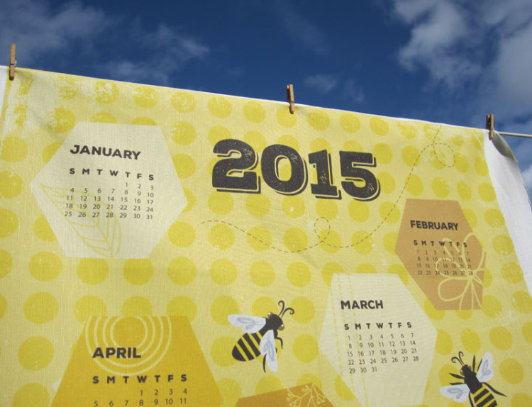 Photo detail of Bee Towel tea towel calendar by Lellobird