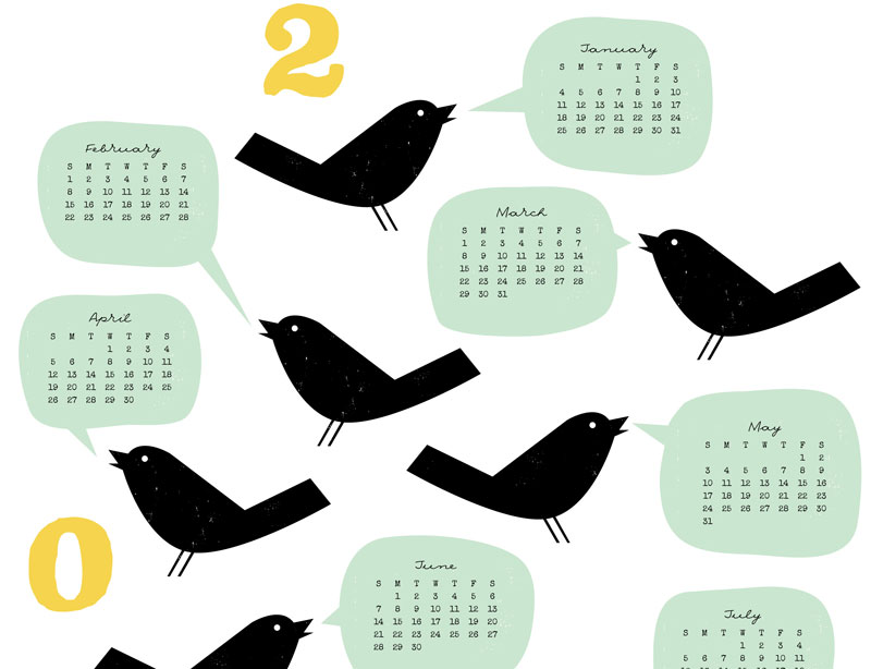 Detail of Bird Talk calendar by Lellobird