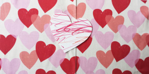 Tissue Hearts fabric by Lellobird