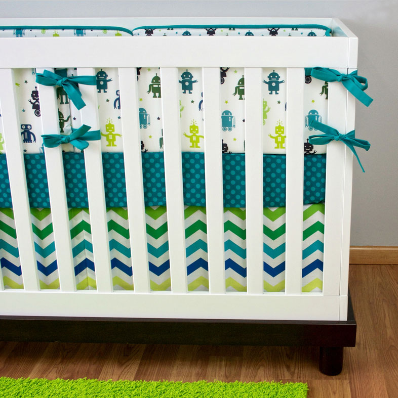 Crib bedding from Modified Tot featuring Lellobird fabric