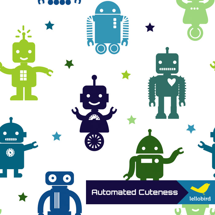 Automated Cuteness fabric by Lellobird
