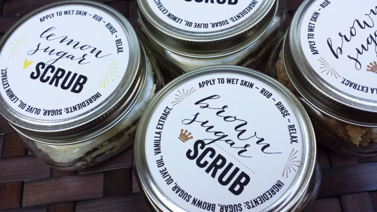 Free printable labels for sugar scrubs, by Lellobird