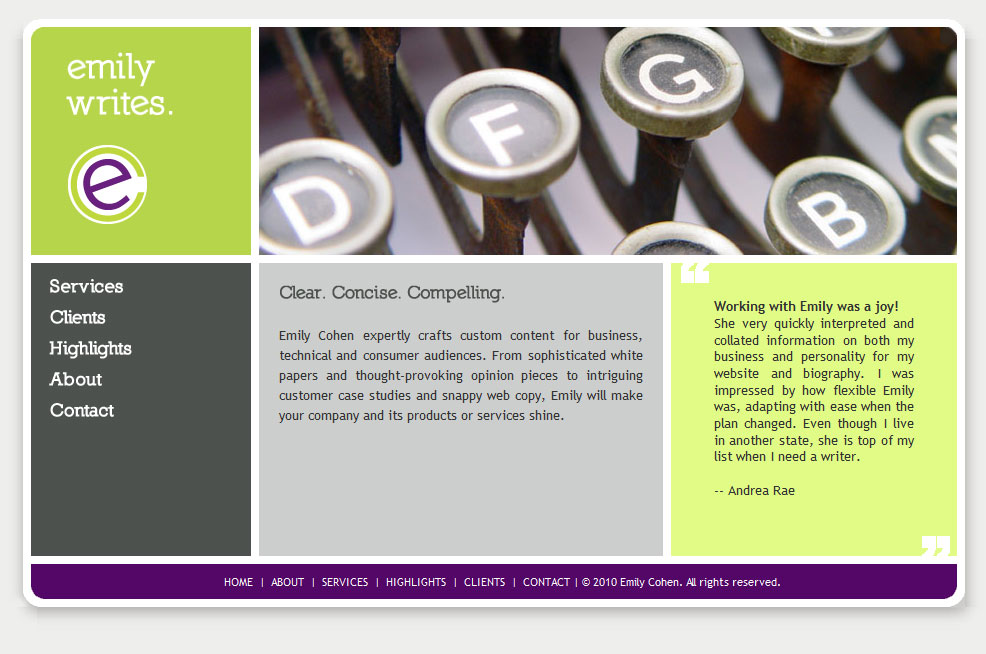 Emily Writes website design by Lellobird