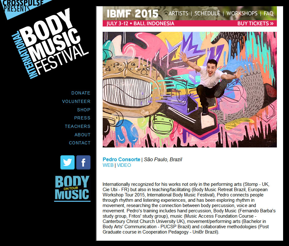 Website for International Body Music Fesitval by Lellobird