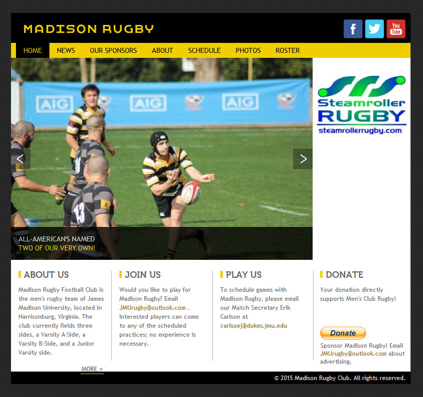 Website for Madison Rugby Football Club by Lellobird