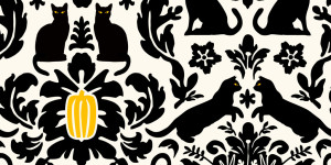Black Cat Damask fabric by Lellobird, available at Spoonflower