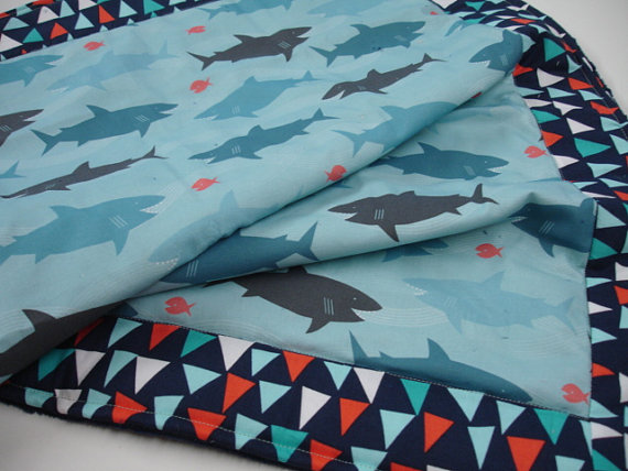 Blanket by KBExquisites using Happy Sharks fabric by Lellobird