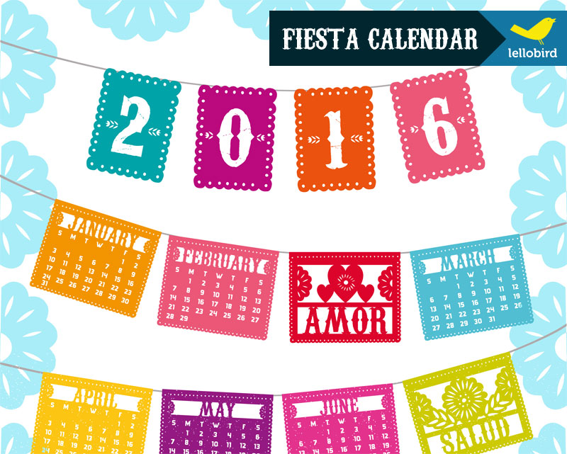 Fiesta Calendar by Lellobird, available at Spoonflower