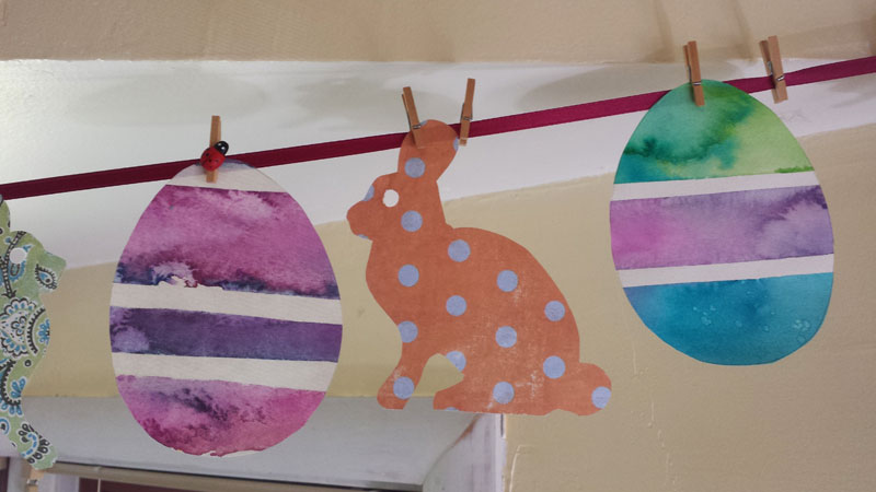 Watercolor egg garland