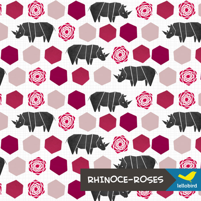Rhinoce-Roses Tiny fabric by Lellobird