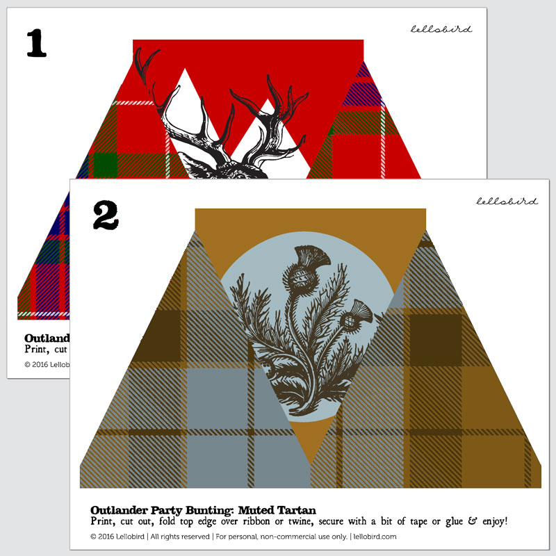 Outlander-inspired printable bunting by Lellobird