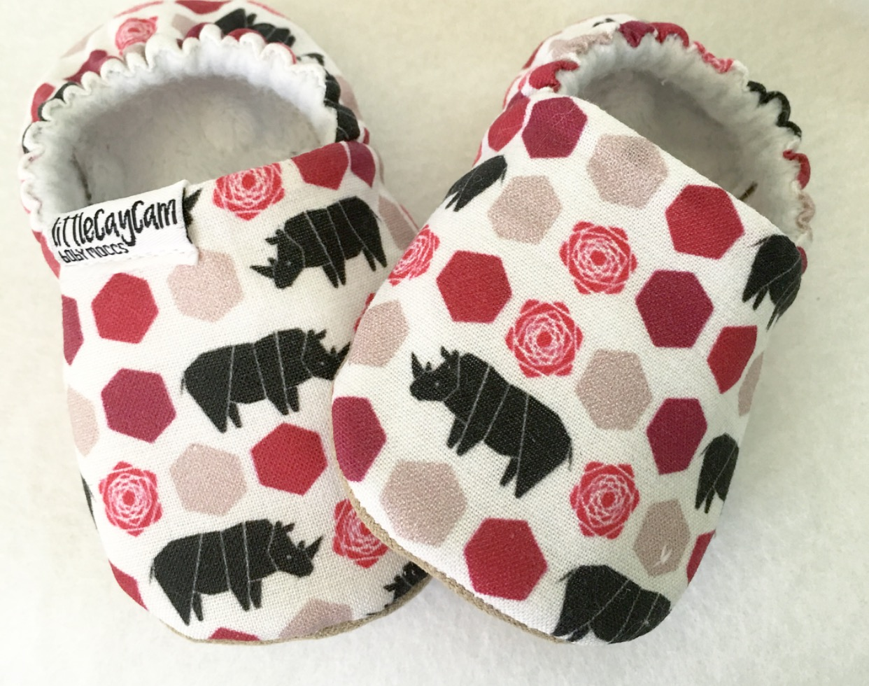 Baby shoes made from Lellobird fabric by Casey Dumadag