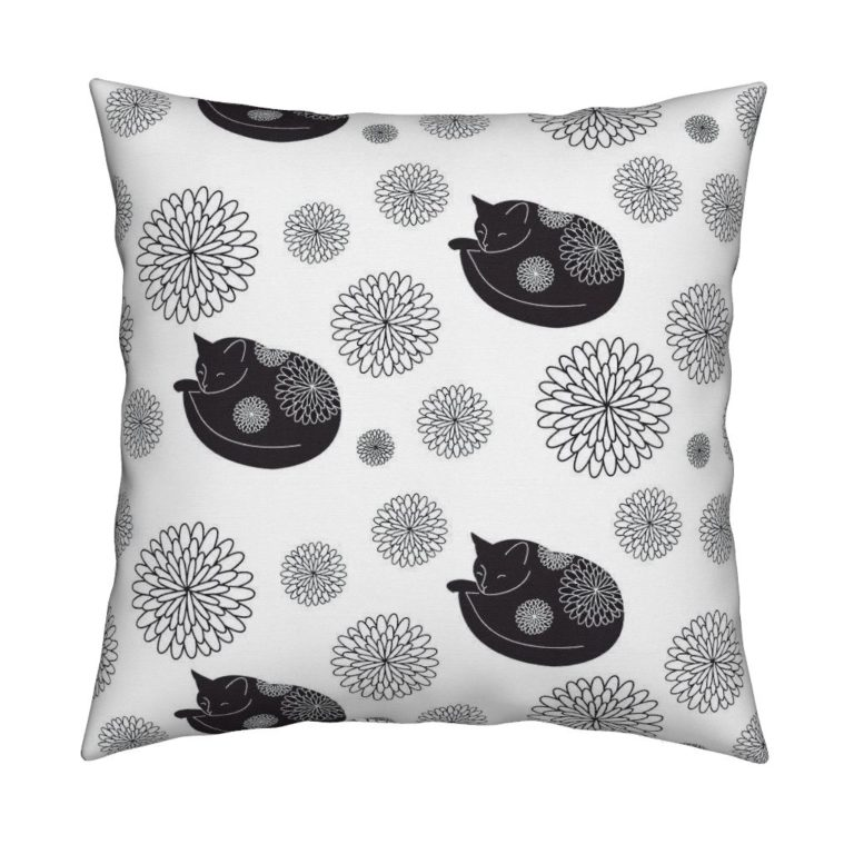 Cats in Bloom pillow designed by Lellobird, made by Roostery