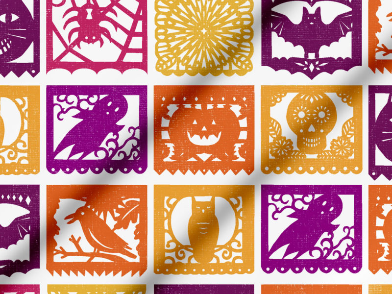 Halloween Papel Picado fabric by Lellobird