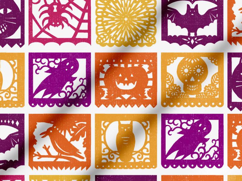 Halloween Papel Picado fabric by Lellobird