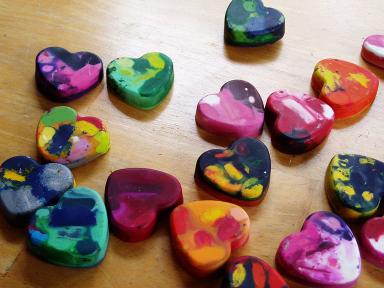 Crazy crayon hearts for Valentine's Day