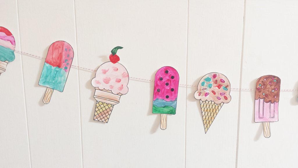 Ice Cream Coloring Garland printable by Lellobird