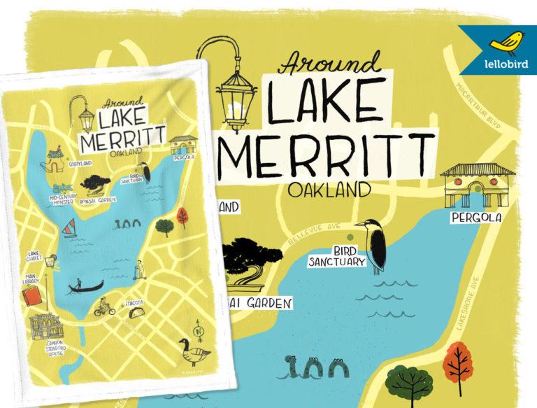 Around Lake Merritt map tea towel by Lellobird