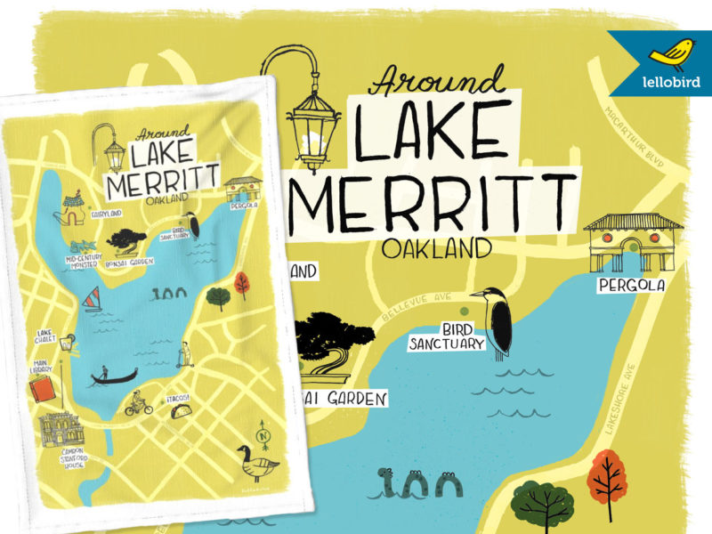 Around Lake Merritt map tea towel by Lellobird
