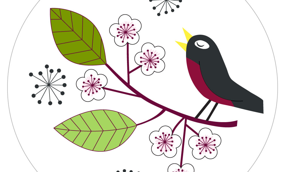 Spring Robin Embroidery Pattern by Lellobird