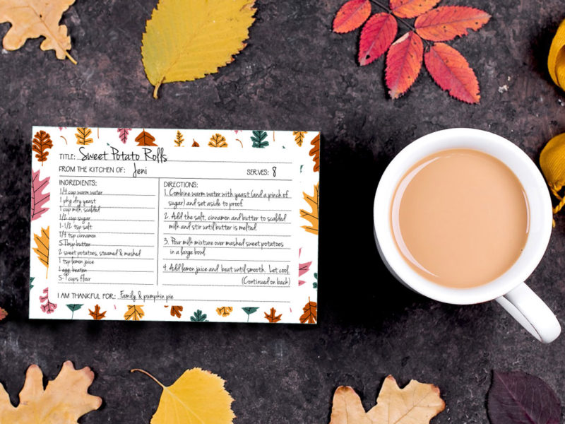 Autumn recipe card printable from Lellobird