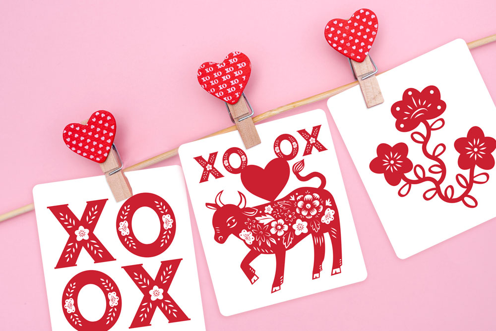 XO Ox Year of the Ox Valentines by Lellobird