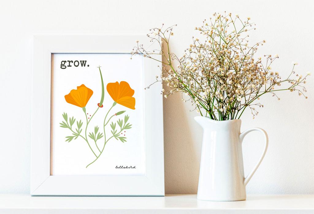 Grow California poppies printable by Lellobird