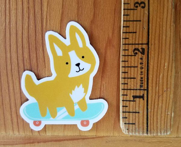 Skate Dog Skateboarding Corgi sticker by Lellobird