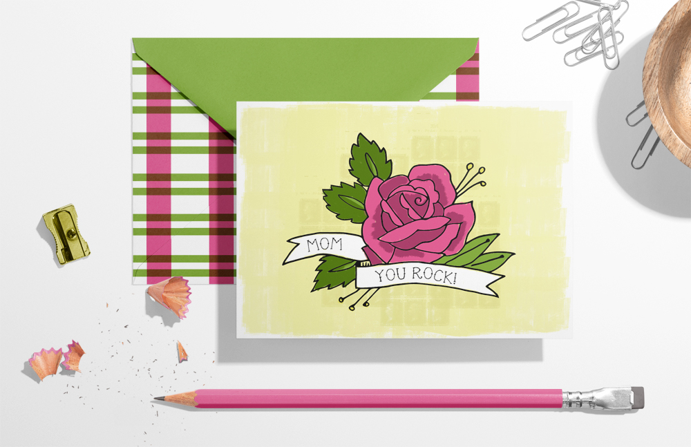 Free printable tattoo-inspired Mother's Day card by Lellobird