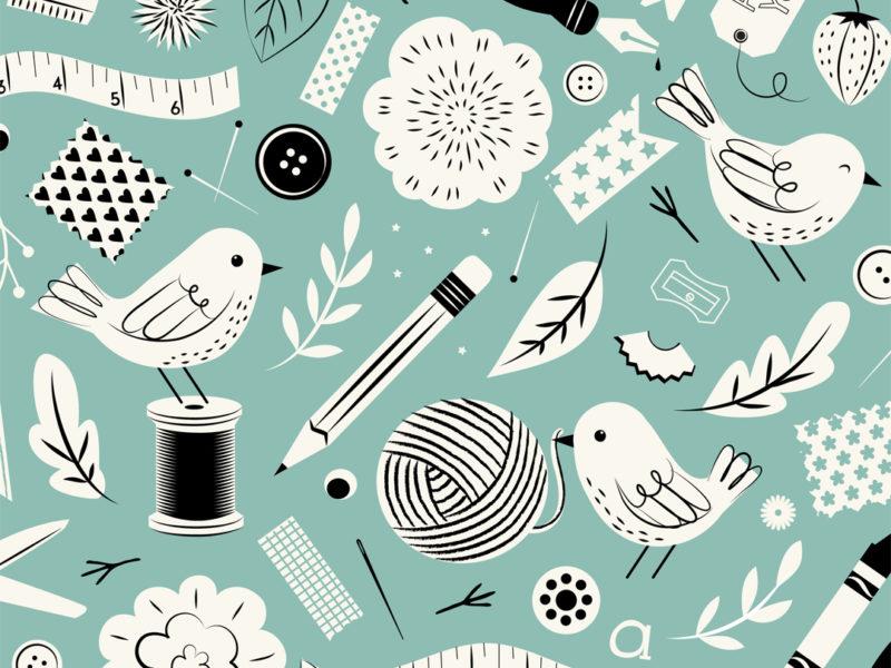 Crafty Birds surface design by Lellobird
